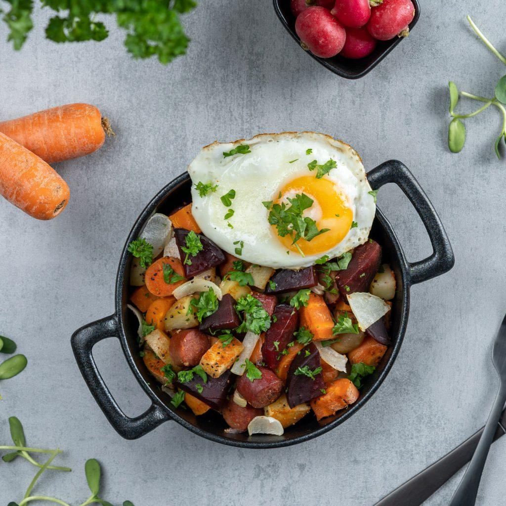 Pytt-i-panna med ägg Recept